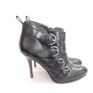 Coach Tessie black leather stilleto buckle bootie